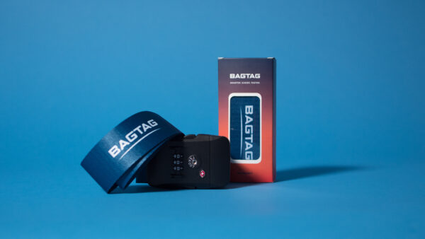 BAGTAG belt and packaging for electronic luggage label