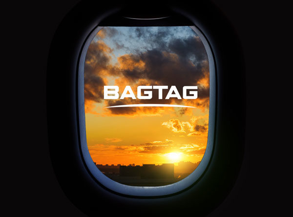 BAGTAG logo in airplane window