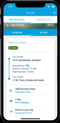 KLM app 'Upcoming Trips' screen