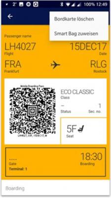 Lufthansa app: boarding pass