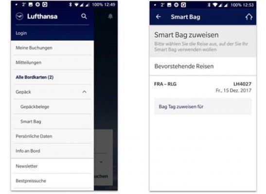 Lufthansa app: menu