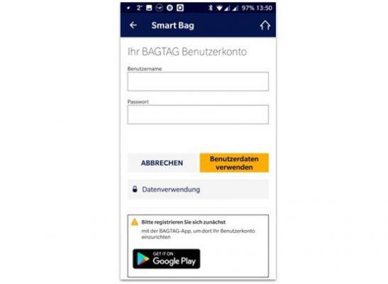 Lufthansa app: BAGTAG login