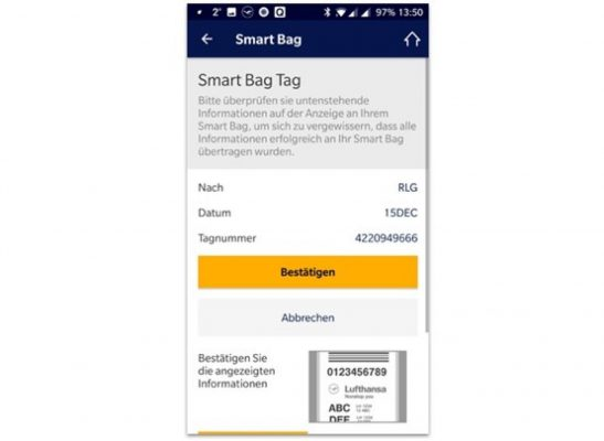 Lufthansa app: smart bag information