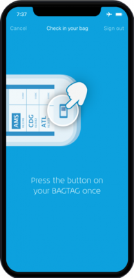 KLM app: update BAGTAG by pressing the button